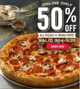 Domino's Pizza: 50% Off All Pizzas When You Order Online!