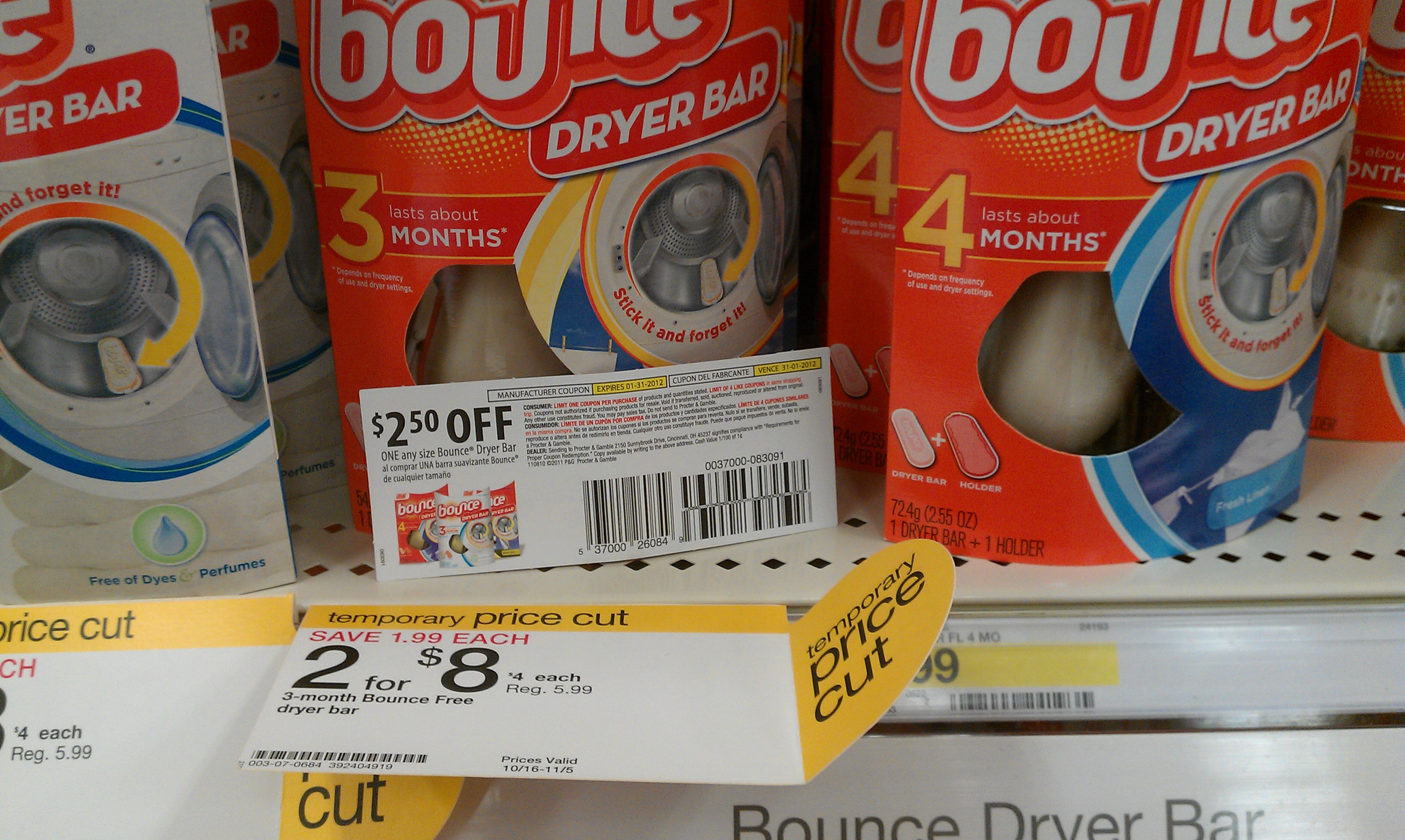 Bounce dryer bar coupons