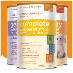 Get a free sample of simply right baby care infant formula choose