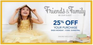 Disney Store Friends & Family Event – 25% OFF Entire Purchase!