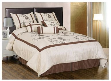 7 piece embroidery water lily comforter set bed in a bag king size only become a. Black Bedroom Furniture Sets. Home Design Ideas
