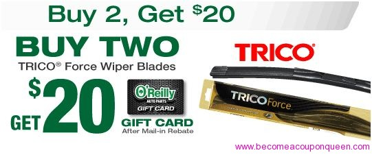 image relating to O Reilly in Store Printable Coupons referred to as $20 MIR upon Trico Wiper Blades at OReilly Vehicle Elements - Consider