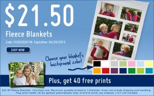 Custom Photo Fleece Blanket only $21.50 {50% off} and get 40 FREE Prints!