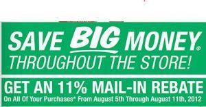 Get an 11% Mail in rebate on EVERYTHING at Menards this week!