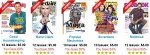 $5 Magazine Deals (12 Issues): Good Housekeeping, Marie Claire, Seventeen, Popular Mechanics, and Redbook!!!
