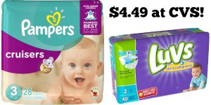 CVS: Pampers and Luvs Jumbo Pack Diapers Only $4.49!