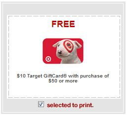 New $10 Target GC w/any $50 Purchase Coupon! Get $55.25 Worth of Items for $4.75