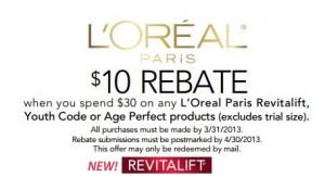 $10 off $30 L'Oreal Rebate