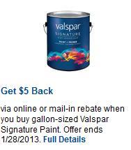$5 or $20 Valspar Signature Paint Rebate!