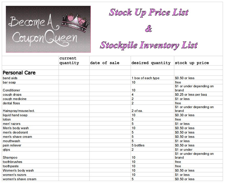 Stock Up Price List And Stockpile Inventory Sheet  Become A