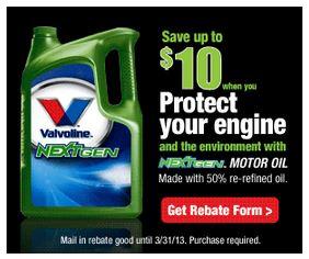 HOT New $10 Valvoline Rebate