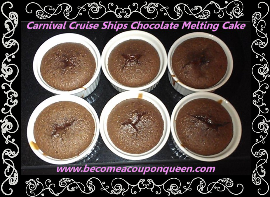 carnival cruise ships chocolate melting cakes recipe