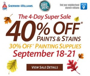 40% Off Paints and Stains at Sherwin Williams!