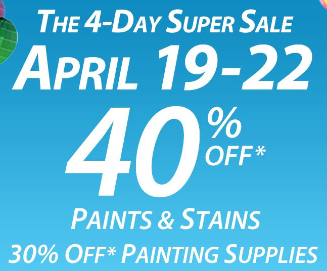 Now through September 24th save 40% off paints & stains at your local Sherwin Williams store. Plus, save 30% off painting supplies and an additional 25% off everyday low price on custom order wallpaper.