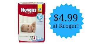 Huggies Snug and Dry Diapers Only $4.99 at Kroger!