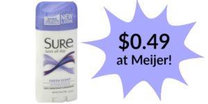 Meijer: Sure Deodorant Only $0.49!