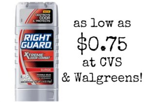 Right Guard Xtreme Deodorant as low as $0.75 at Walgreens and CVS!