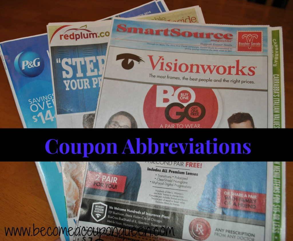 Coupon Abbreviations What Do They All Mean