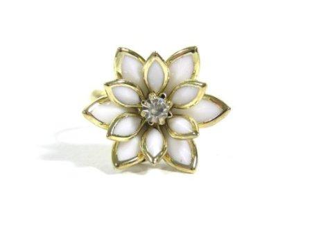 white lotus flower ring