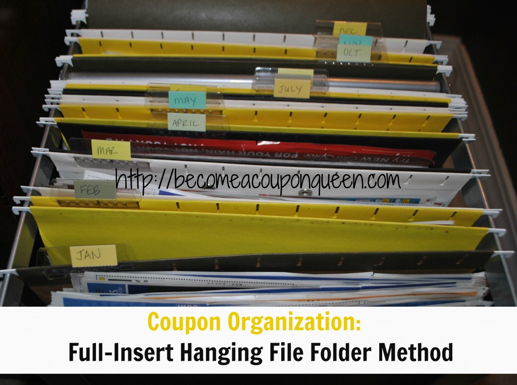 coupon organization full-insert hanging file folder method