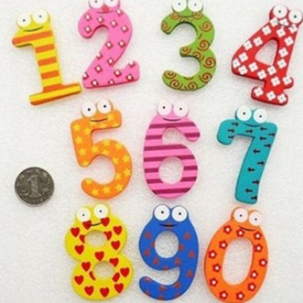 colorful wooden number magnets