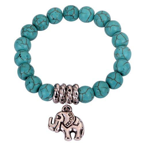 turquoise stretch bracelet with elephant charm