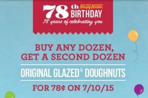 BOGO $0.78 Dozen Krispy Kreme Doughnuts!