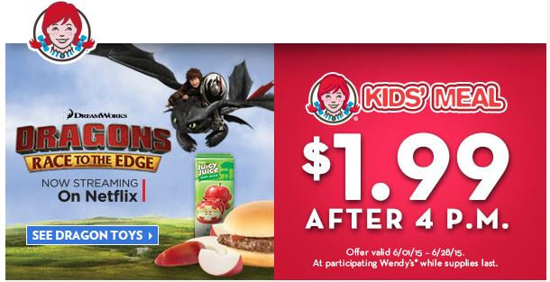 Wendy's is offering $ Kids' Meals after 4pm just in time for summer. It's a pretty good deal as Kids' Meals tend to run around $ and up nowadays. In addition to the limited-time promotion, they've also added the Grilled Chicken Go Wrap as an entree option for the Kids' Meals.
