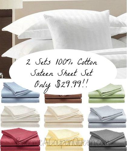 Hotel Life Deluxe 100 Cotton Sateen Sheet Set in Full, Queen & King