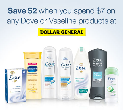 dove or vaseline products at dollar general