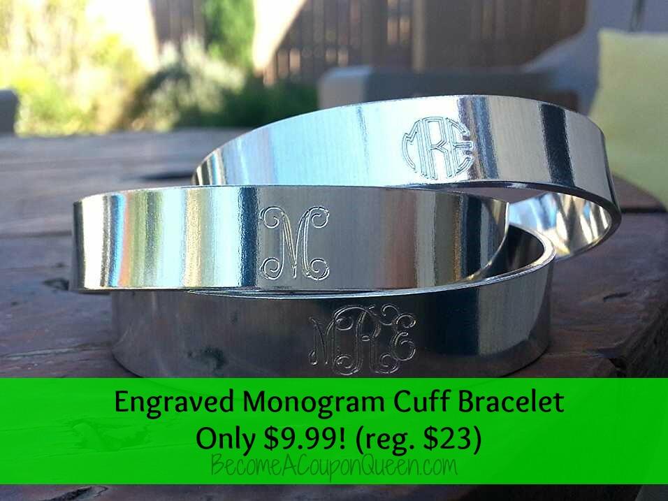 engraved monogram cuff bracelet