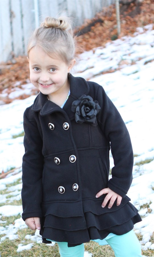 45633428581 Adorable Girls Ruffled Peacoat Only $19.99!