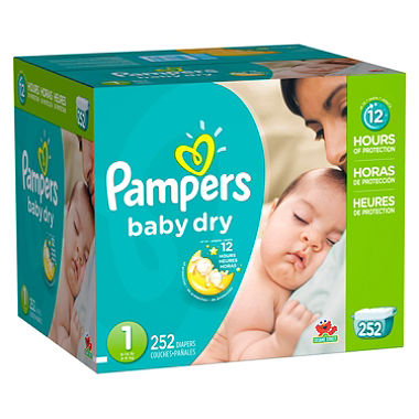pampers baby dry diapers box