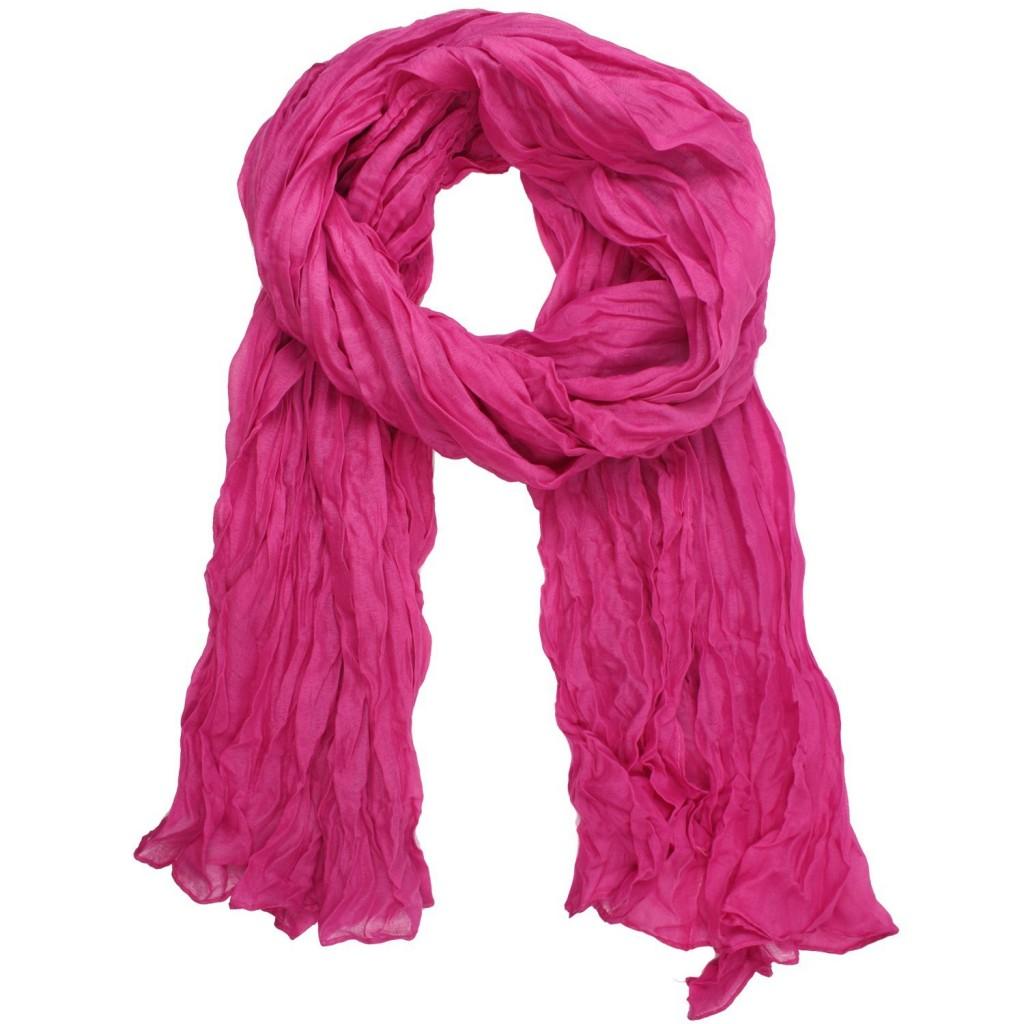 Crinkle scarf rose red