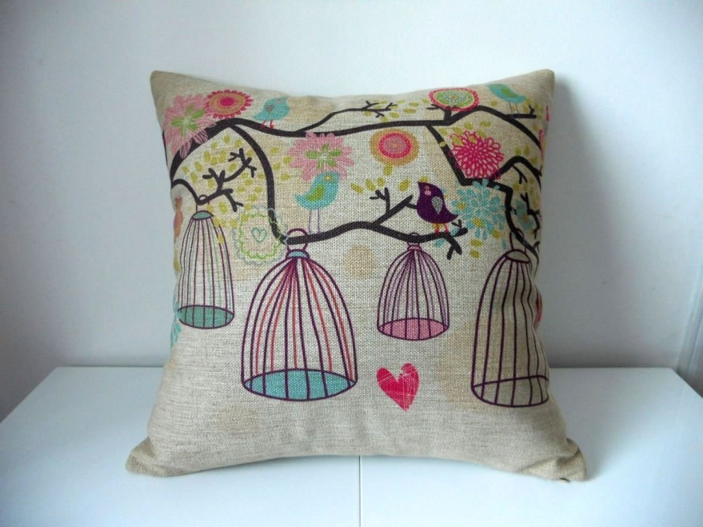 bird and birdcage decorative throw pillow