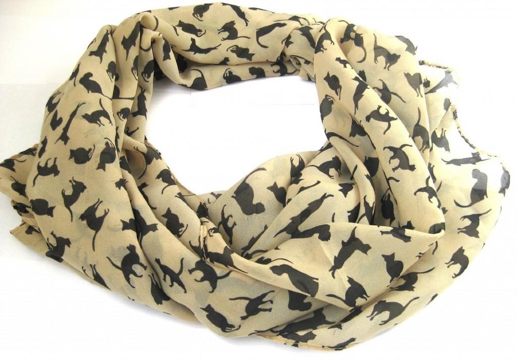 chiffon cat print scarf