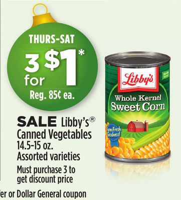 libby's canned vegetables dollar general