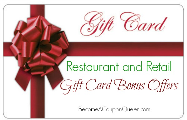 restaurant and retail gift card bonus offers