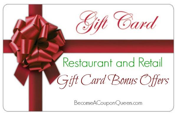 Restaurant and Retail Gift Card Bonus Offers