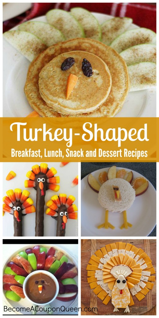 turkey-shaped breakfast, lunch, snack and desserts
