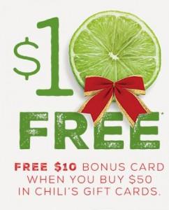 FREE $10 Chili's Gift Card wyb $50!