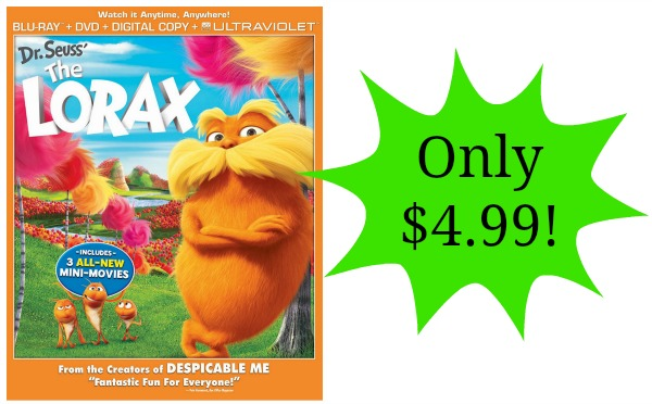 Dr Seuss The Lorax Dvd Blu Ray Only 4 99