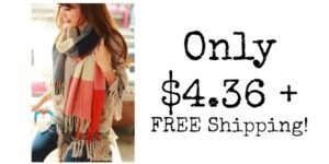 Plaid Warm Winter Scarf Only $4.36 + FREE Shipping!