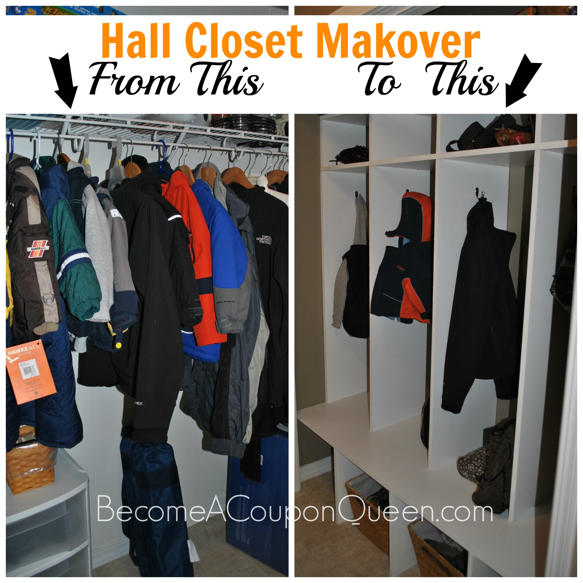 Hall Closet Makeover – From Closet to Lockers!