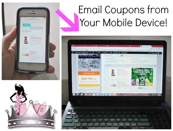 email coupons from your mobile device