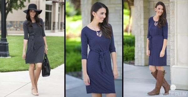 Addison Knee Length Polkadot Dress