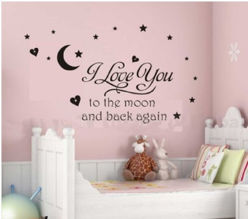 I love you to the moon and back wall decal