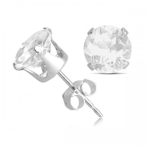 Sterling Silver 2 Carat White Topaz Silver Stud Earrings