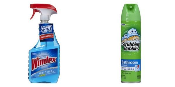 windex and scrubbing bubbles