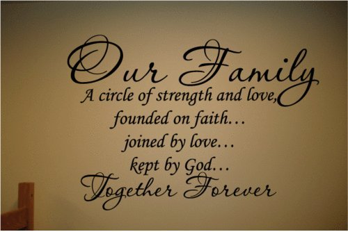 Our Family a Circle of Strength and Love Wall Vinyl Sticker